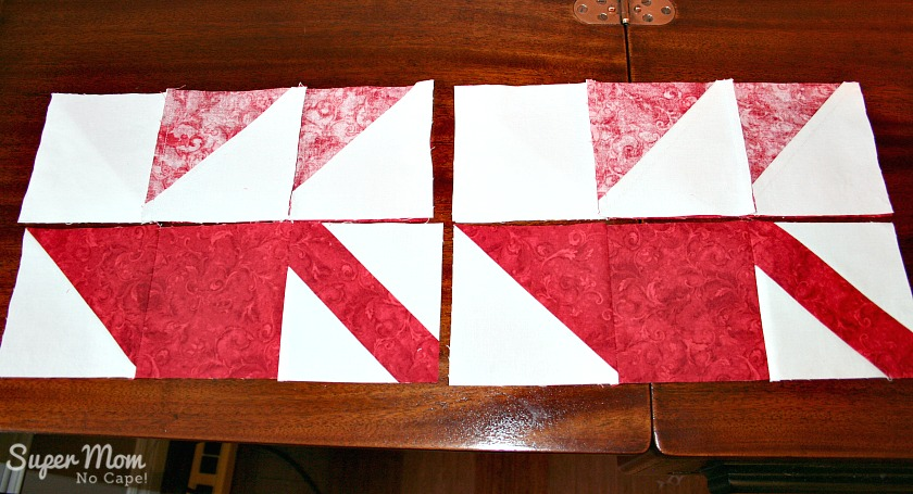 Maple Leaf Blocks - Step 9B Flip the top row down onto middle row and sew