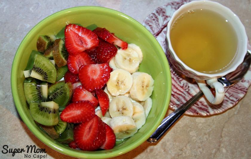 Strawberries, kiwi and banana for breakfast