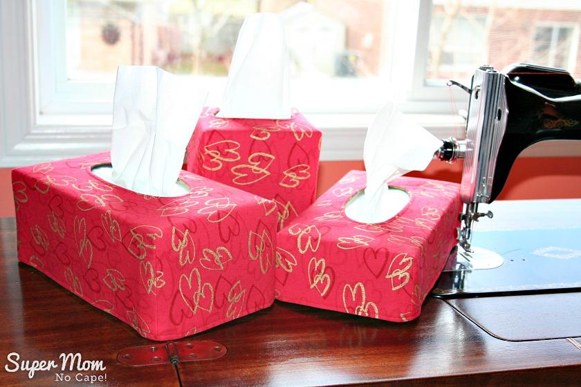 Valentine's tissue box covers in three sizes