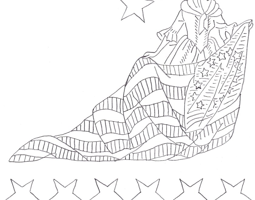 Vintage Workbasket Embroidery Pattern - Betsy Ross and the US Flag