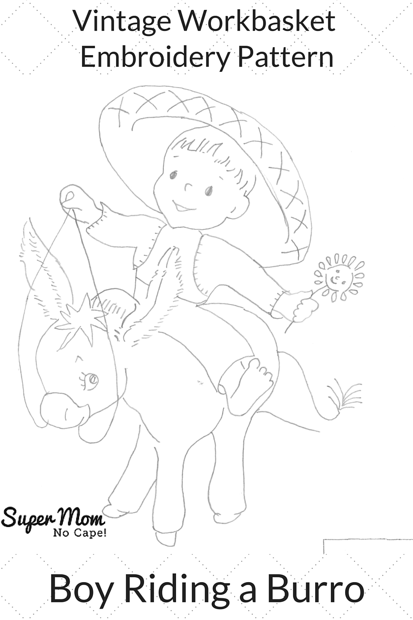 Vintage Workbasket Embroidery Pattern - Boy Riding a Burro