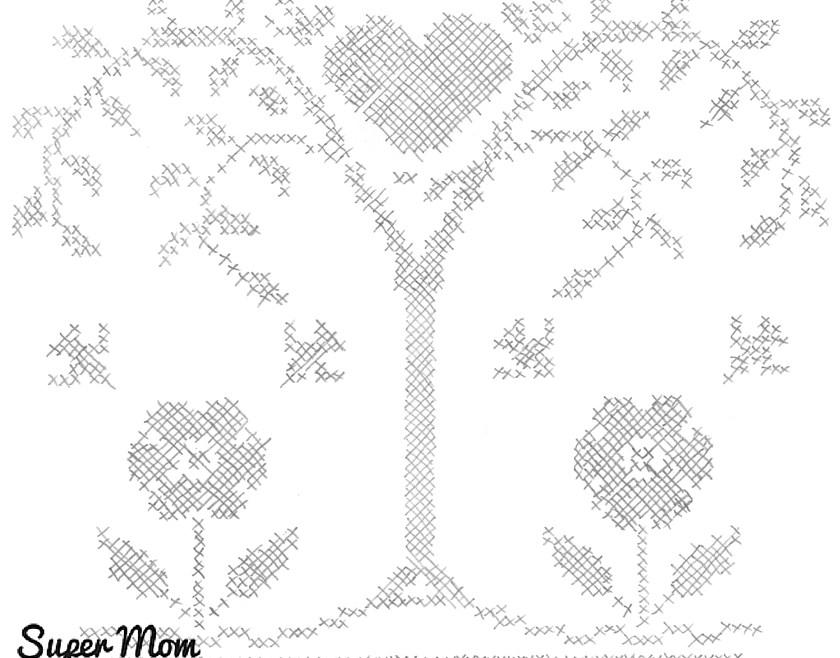 Vintage Workbasket Embroidery Pattern - Heart Tree
