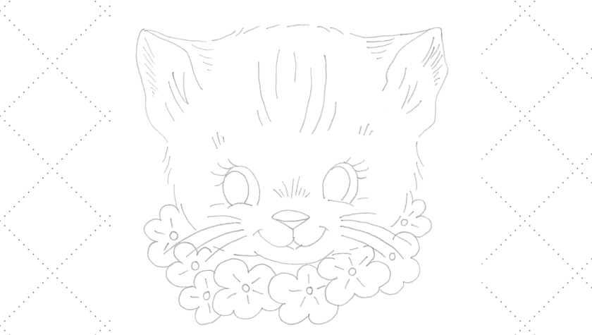 Vintage Workbasket Embroidery Pattern - Sweet Kitten with Floral Necklace