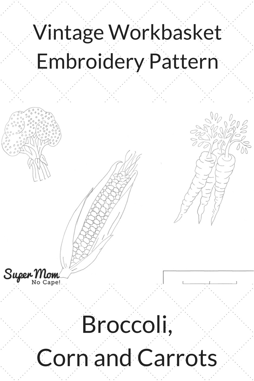 Vintage Workbasket Embroidery Pattern - Broccoli Corn and Carrots
