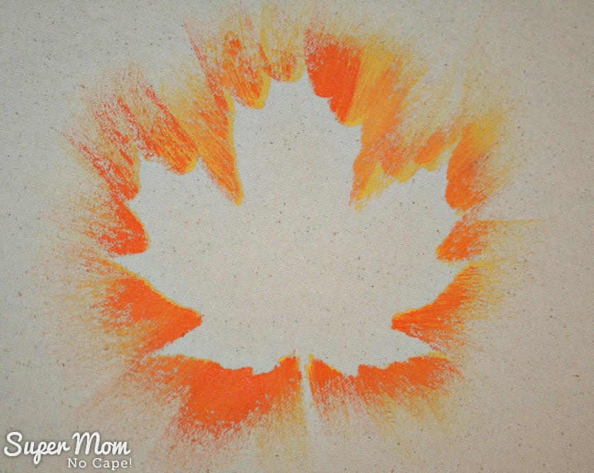 Completed Yellow and Orange Leaf on the Painted Maple Leaf Table Runner