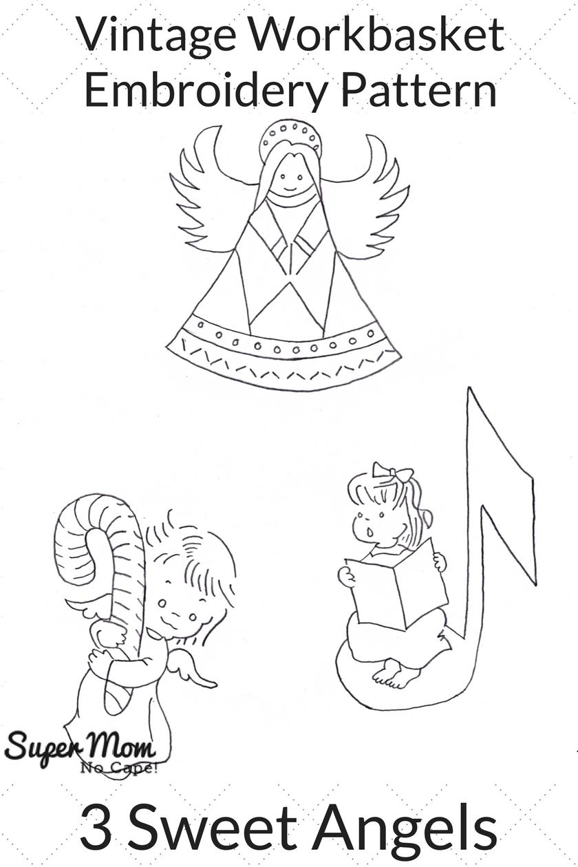 Vintage Workbasket Embroidery Pattern - 3 Sweet Angels