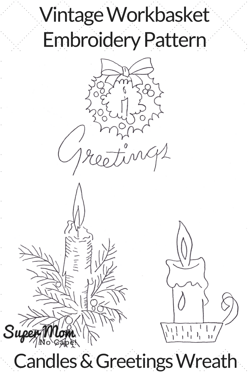 Vintage Workbasket Embroidery Pattern - Candles and Greetings Wreath