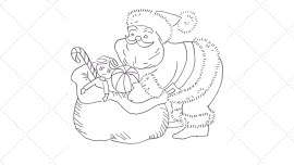 Vintage Workbasket - Embroidery Pattern - Santa with Sack filled with toys