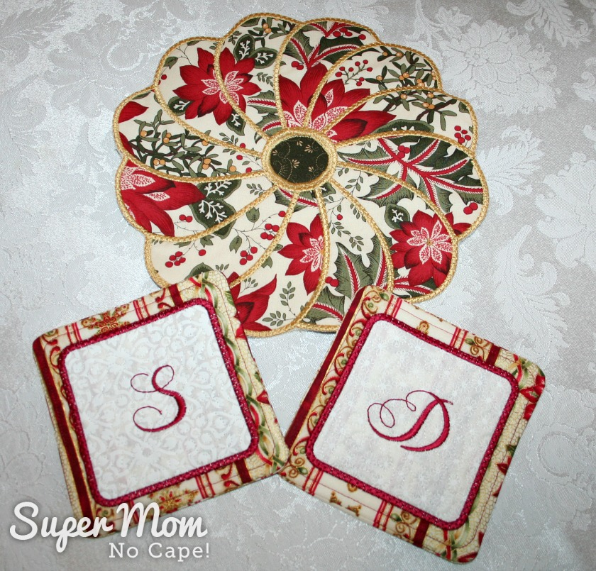Candle Mat and Coasters with Initials made by Pauline
