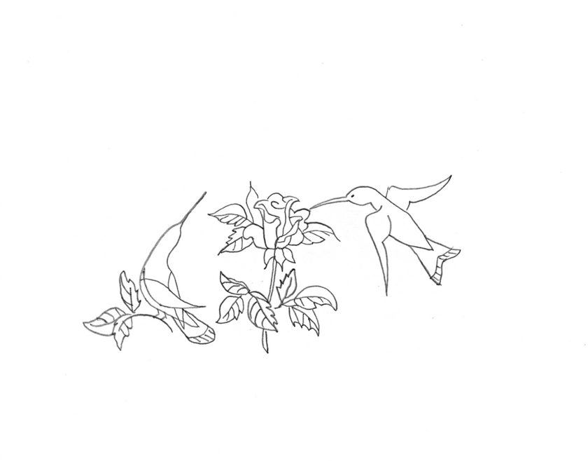 Vintage Workbasket Embroidery Pattern - Hummingbirds with Rose