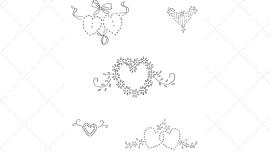 Vintage Workbasket Embroidery Pattern - 5 Small Heart Motifs