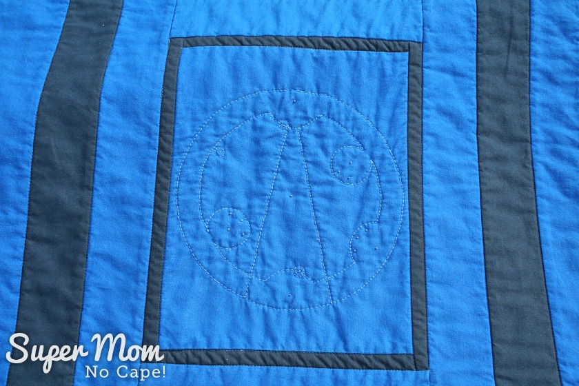 Dr Who Tardis Quilt - Gallifeyan stitched on each blank panel - Torchwood