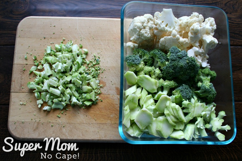 Broccoli Salad with Balsamic May Dressing - chop the broccoli stems up small, peel and slice the broccoli stalks