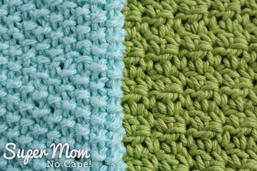 Crocheted Seed Stitch Dishcloth Pattern - comparison between knitted and crocheted seed stitch