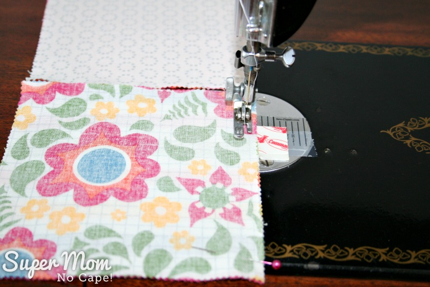 Charm Square Soup Bowl Cozy Tutorial - sew squares together in pairs