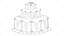 Vintage Embroidery Monday - Tiered Birthday Cake