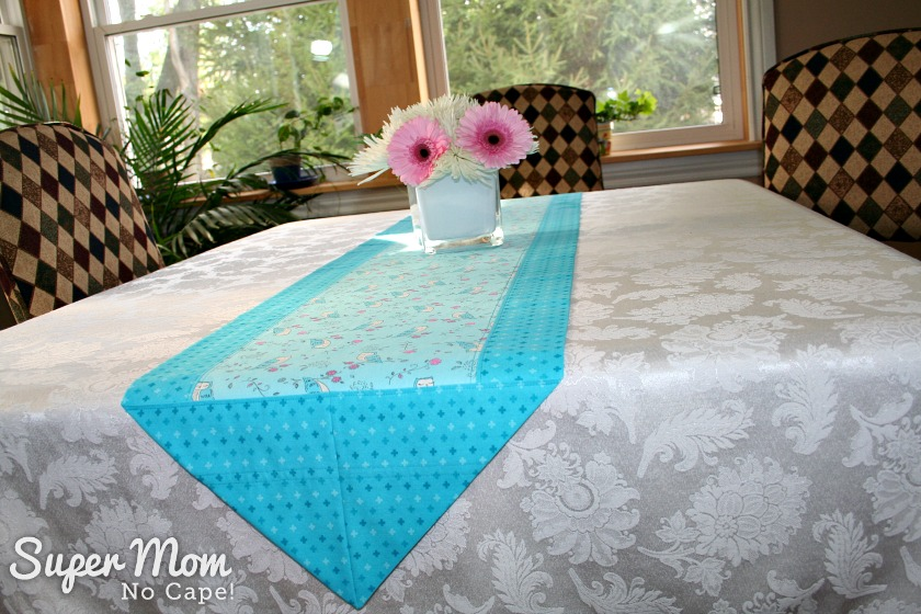 One Hour Table Runner - Owl fabric as the center feature panel