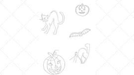 Vintage Embroidery Monday - Halloween Motifs- Jack O Lanterns Cats and Bat