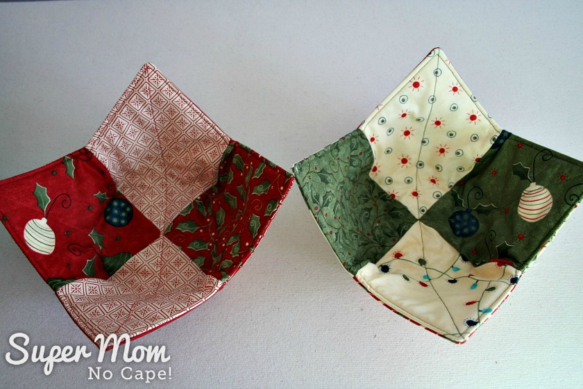 Christmas Charm Square Soup Bowl Cozies - Christmas ornaments fabric in deep red and green
