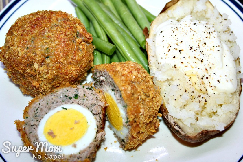 Gluten Free Baked Scotch Eggs - serve with baked potato and green beans