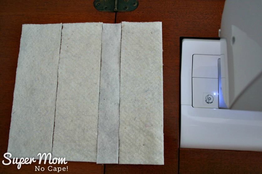 How to Join Leftover Strips of Quilt Batting - 7 Line up strips to have a little more than 9 and a half inches