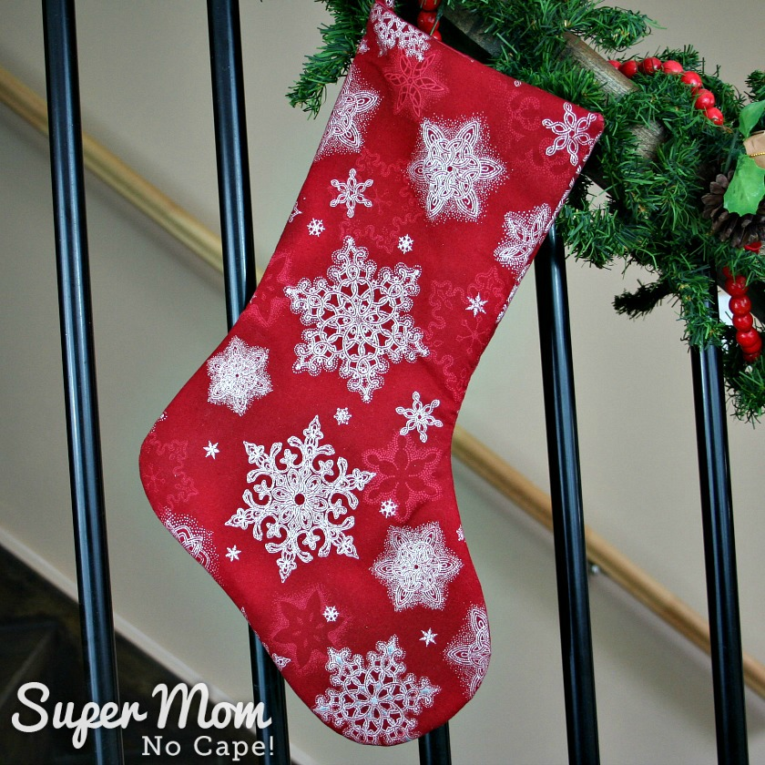 Red White Snowflake Christmas Stocking