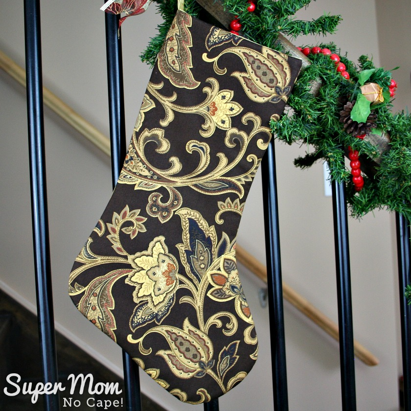 Reversible Traditional Chocolate Brown and Gold Jacobean Cotton Christmas Stocking