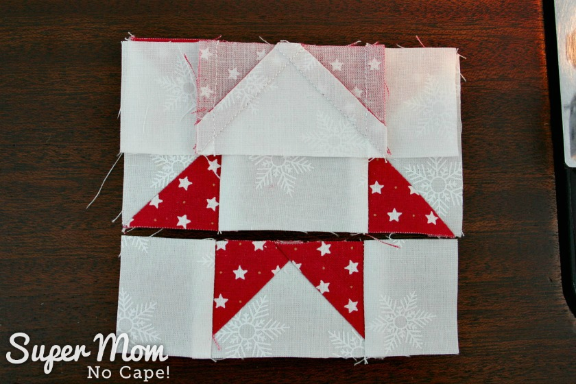 Sawtooth Star with Applique Center Ornament - 19. Flip top row down onto middle row