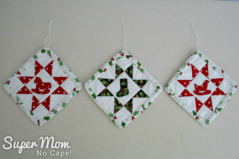 Sawtooth Star with Applique Center Ornament - Three finished ornaments