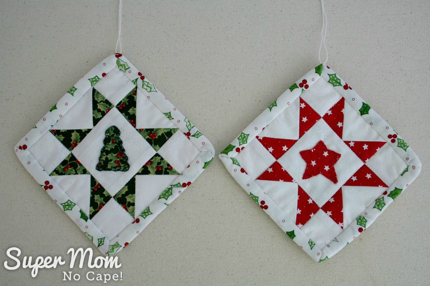 Sawtooth Star with Applique Center Ornament - Two finished ornaments