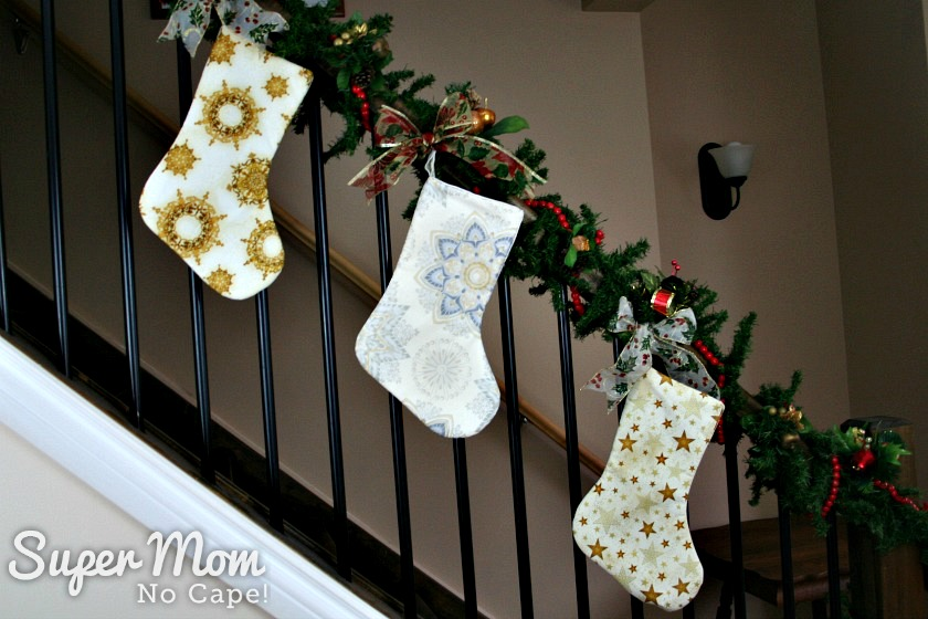 Three Gold and White Snowflakes and Stars Christmas Stockings