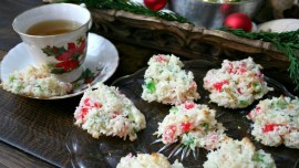 Coconut Cherry Drop Cookies served with a cup of tea