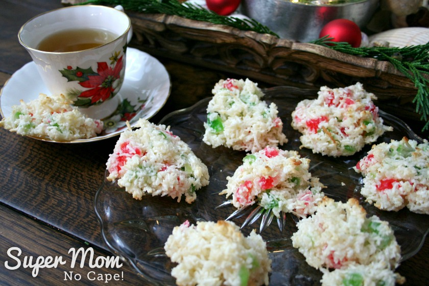 Baked Coconut Cherry Drop Cookies served with a cup of tea