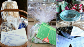 Photos of food gifts ready for giving