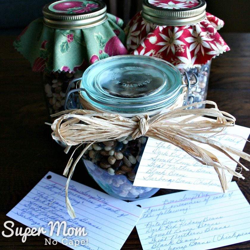 Bean Soup in a Jar Mix - Jar of Dried Bean Soup with rafia and recipe card