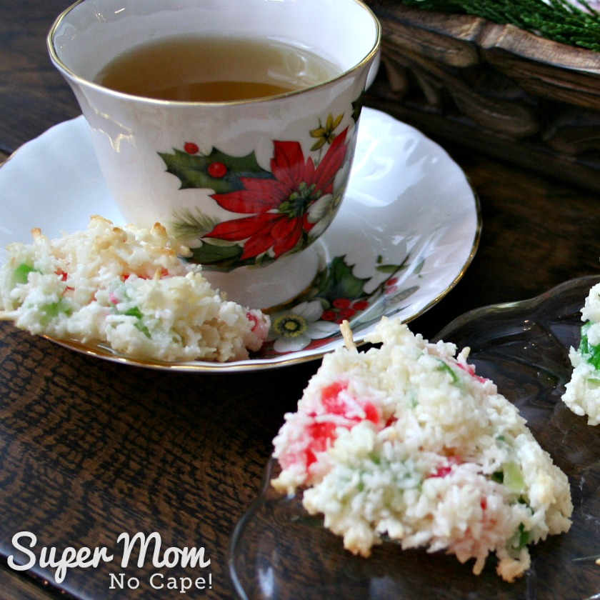Coconut Cherry Drop Cookies served with cup of tea