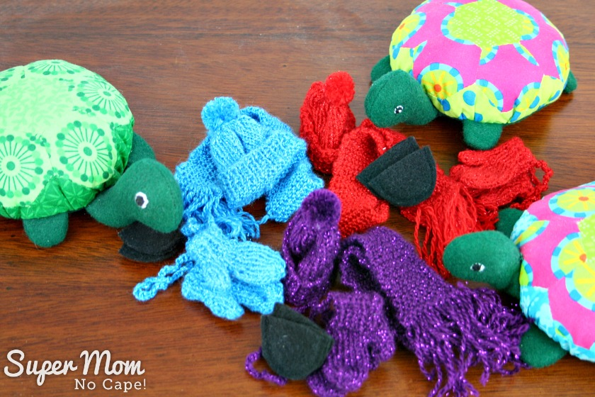Hexie Turtles with they winter hats, mitts, scarves and boots