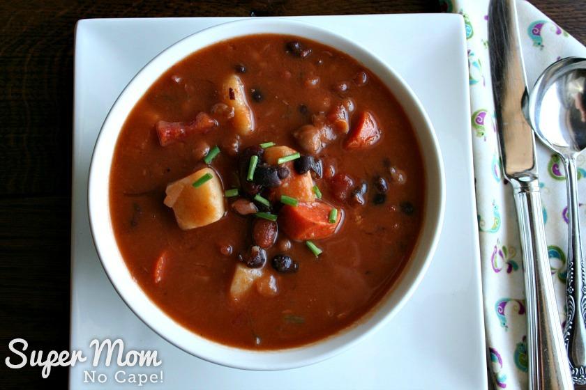 Homemade Bean Soup - Overhead photo of Homemade Bean Soup