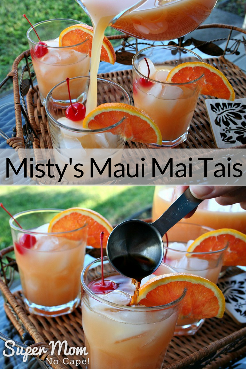 Collage image with top image of Misty's Maui MaiTai Mix being poured into a glass and bottom image of a tablespoon of dark rum being added to the top of the glass
