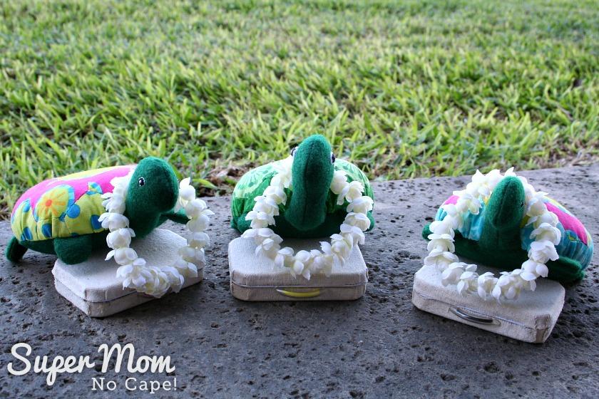 The Hexie Turtles wearing their leis