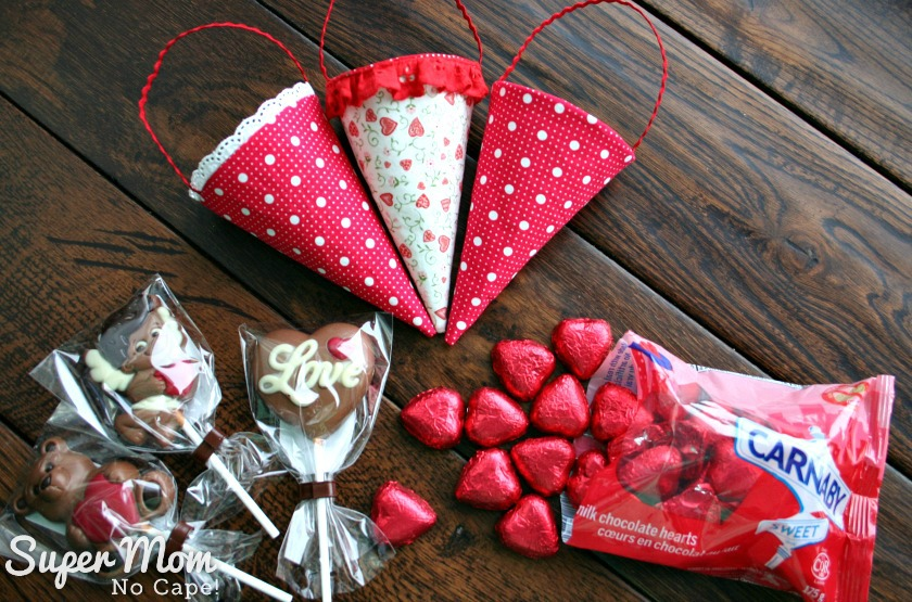 Fabric cones with cadbary heart and chocolate suckers