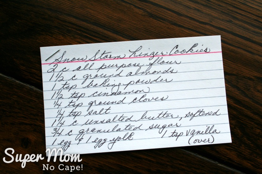 Photo of Hand Written Recipe card for Snow Storm Linzer Cookies