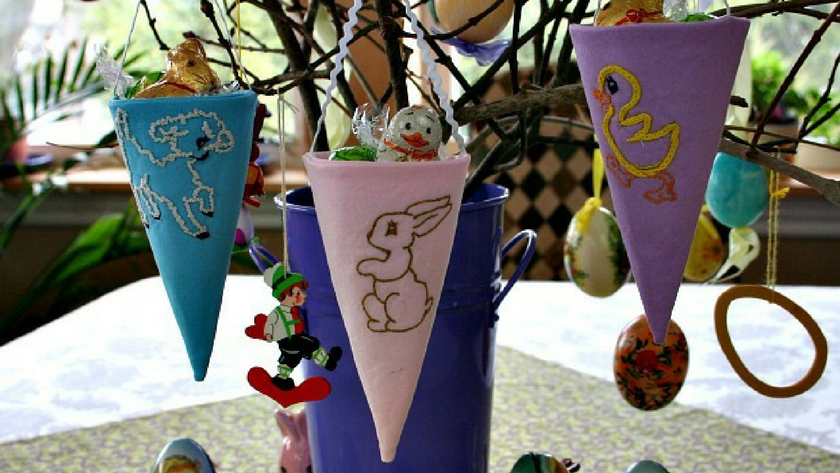 Embroidered Fabric Easter Cones