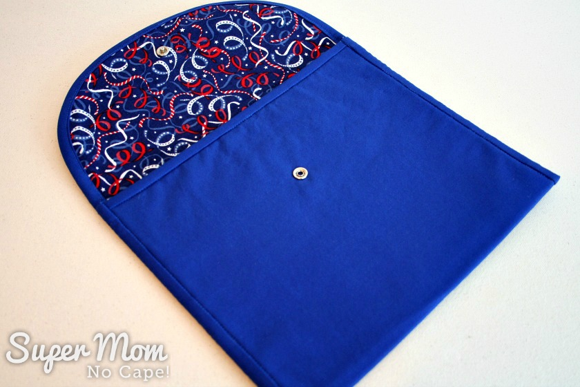 Photo of Making Waves Sashiko Embroidered Pouch with the flap open revealing lining