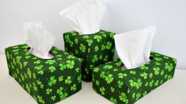 3 Tissue Covers made with shamrock fabric
