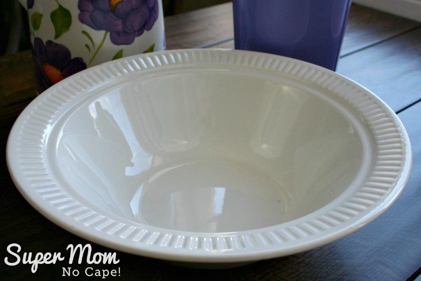 White ceramic bowl with ridged edge