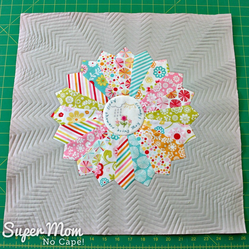 Quilted Pillow top with April Showers Embroidery & Dresden Plate