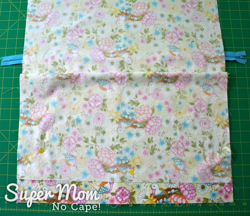 Fold down floral fabric and pin to keep it out of the way