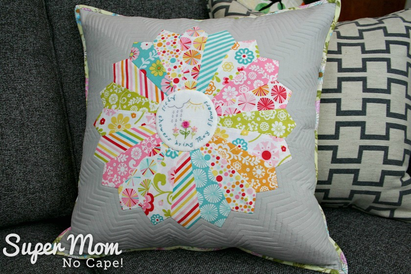 Front of the April Showers Dresden Plate pillow cover