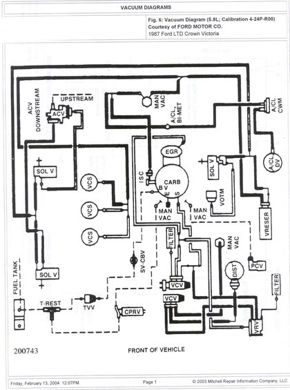1985 Ford Crown Victoria LTD Vacuum System picture